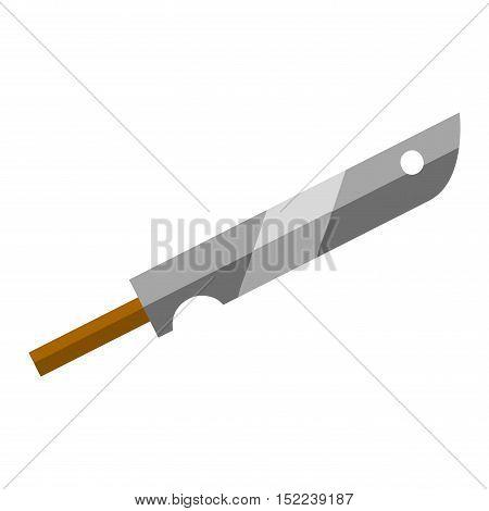 Steel kitchen knife sharp tool cooking equipment vector illustration. Sharp kitchen knife