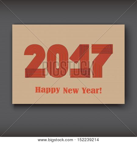 Happy New 2017 Year modern design red on brown background year 2017 in thin lines striped minimalist numbers written with a pen vector illustration