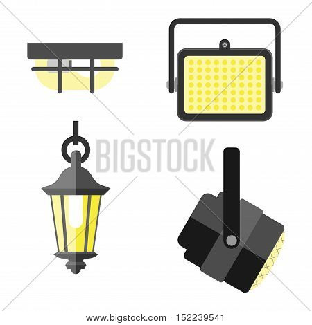 Lamps styles design electricity classic light furniture, different types electric equipment vector illustration. Vector lamps different light type and electric vector lamps. Energy decorative lamps.