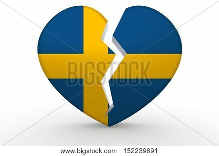 Broken White Heart Shape With Sweden Flag