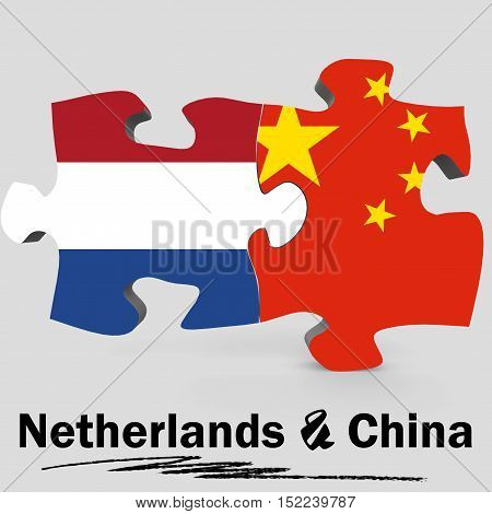 China And Netherlands Flags In Puzzle