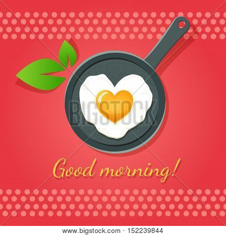 Good Morning!  Fried Egg In Form Of Heart On A Pan. Vector Icon.