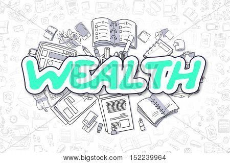 Doodle Illustration of Wealth, Surrounded by Stationery. Business Concept for Web Banners, Printed Materials.