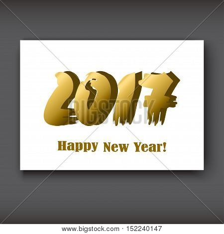 Happy New 2017 Year modern design gold on white background year 2017 in brush stroke pattern vector illustration