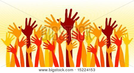 Huge crowd of happy hands vector.