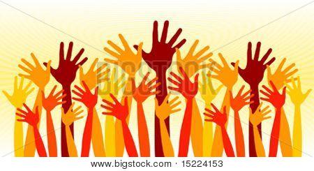 Huge crowd of happy hands vector.