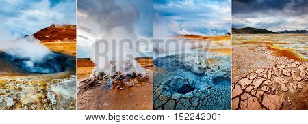 Creative collage geothermal area Hverir (Hverarond) with vertical photo. Dramatic and picturesque scene. Location place Lake Myvatn, Krafla northeastern region of Iceland, Europe. Beauty world.