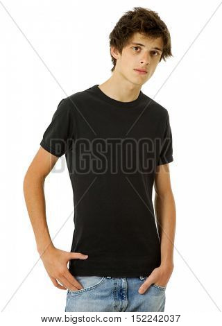 casual young man portrait, isolated on white