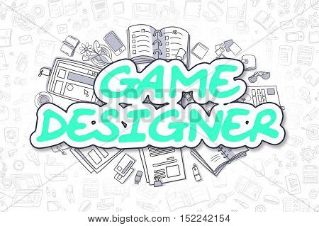 Doodle Illustration of Game Designer, Surrounded by Stationery. Business Concept for Web Banners, Printed Materials.