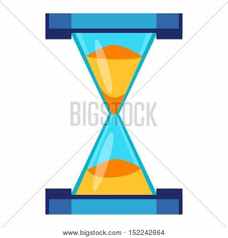 Sandglass icon, time hourglass, sand clock flat design history second old object. Vector illustration sand clock hourglass timer hour minute watch countdown flow measure.