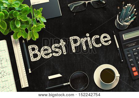 Black Chalkboard with Handwritten Business Concept - Best Price - on Black Office Desk and Other Office Supplies Around. Top View. 3d Rendering. Toned Illustration.