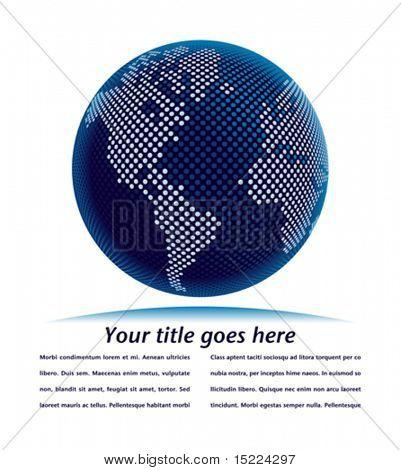 Mapamundi digital con el vector de espacio de copia.