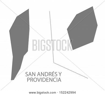 San Andres Y Providencia Colombia Map in grey illustration high res