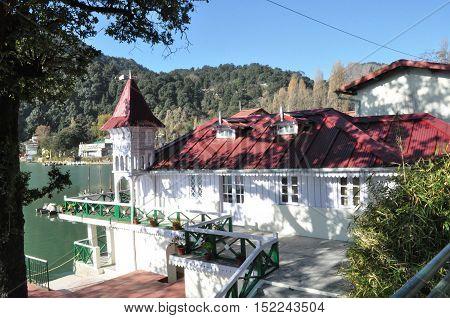 NAINITAL, UTTARAKHAND, INDIA- NOVEMBER 11, 2015: Old House Governer Boat House at Mallital, Nainital, Uttarakhand, India. Nainital is a popular hill station in Uttarakhand, named after the Goddess Naina Devi. It also known as the 'Gateway to Kumaon Himala