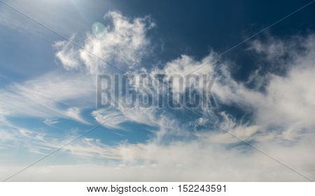 beautiful view of blue sky with clouds in Canary Island, Lanzarote