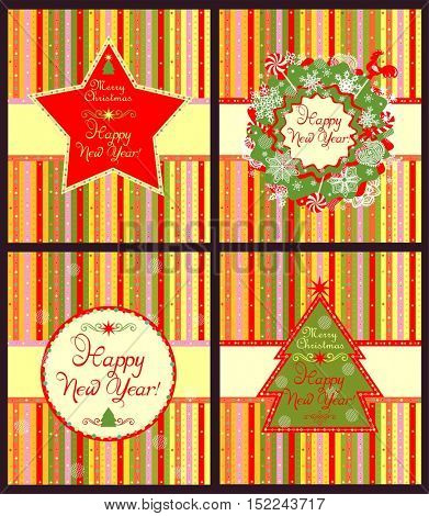 Collection of New Years seasonal striped labels with star, conifer and xmas wreath