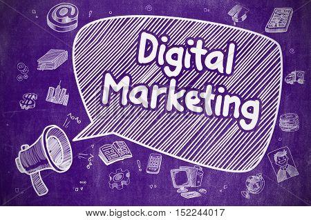 Digital Marketing on Speech Bubble. Cartoon Illustration of Shrieking Loudspeaker. Advertising Concept.