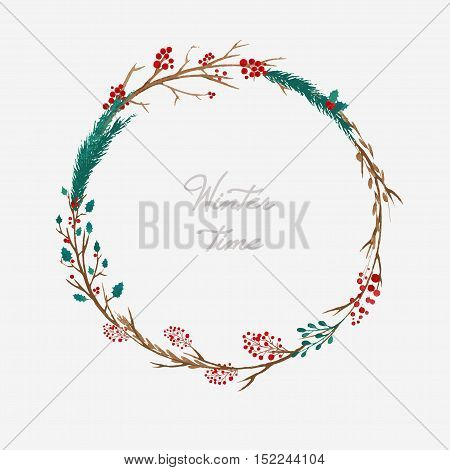 vector watercolor Christmas floral wreath with berries