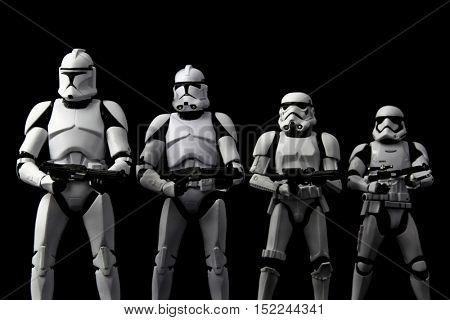 Evolution concept of Star Wars Clone Trooper, Phase II Clone Trooper, Stormtrooper, First Order Stormtrooper - using Hasbro Black Series 6 inch action figures - studio shot