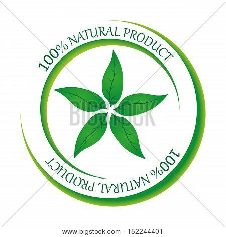 The sign of an organic product. 100% natural product. Vector illustration.