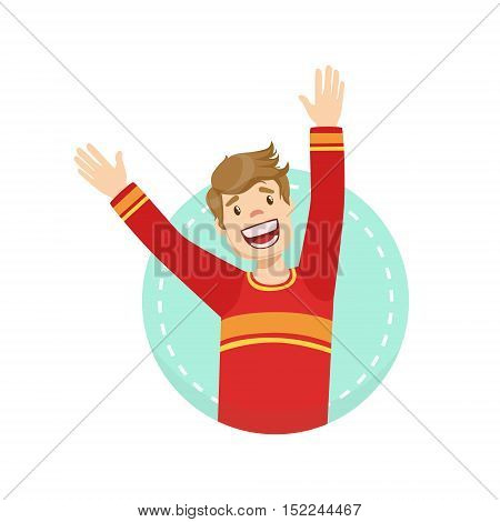 Happy Emotion Body Language Illustration. Emotional Facial Expression And Gesture With Man In Red T-shirt In Blue Round Frame .