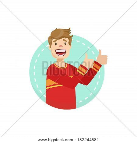 Thumbs Up Emotion Body Language Illustration. Emotional Facial Expression And Gesture With Man In Red T-shirt In Blue Round Frame .
