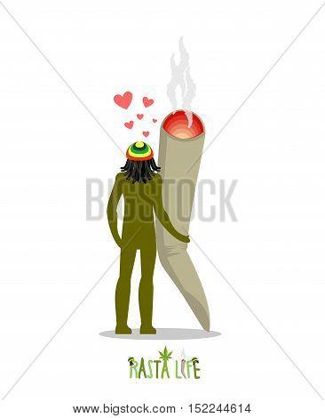 Rasta Life. Rastaman And Joint Or Spliff Holding Hands. Man And Smoking Drug. Marijuana Lovers. Roma