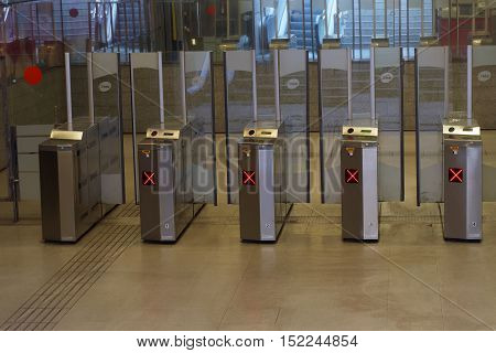 Barcelona, Spain - 25 September 2016: Barcelona metro automatic ticket entrance. Automatic ticket examiners installed a metro entrance.
