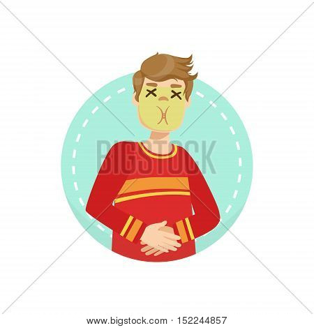 Sick Emotion Body Language Illustration. Emotional Facial Expression And Gesture With Man In Red T-shirt In Blue Round Frame .