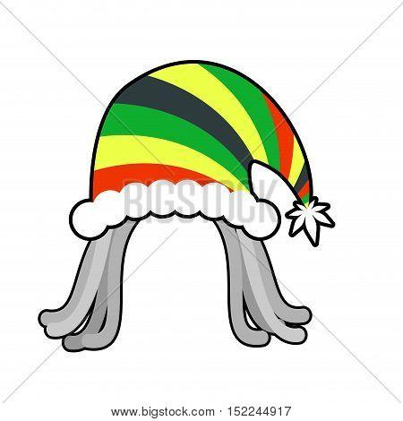 Rasta Cap For Santa Claus. Rastaman Dreadlocks Festive Hat. Reggae Style Hood For Holiday