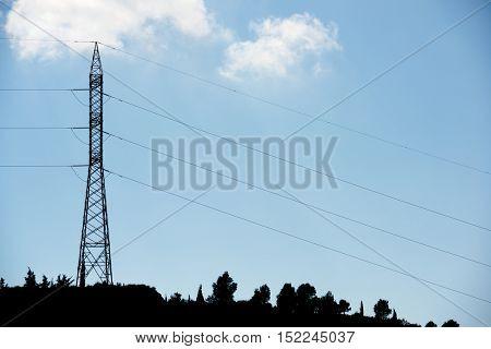 Pylon for electricity distribution, Zaragoza Province, Aragon, Spain