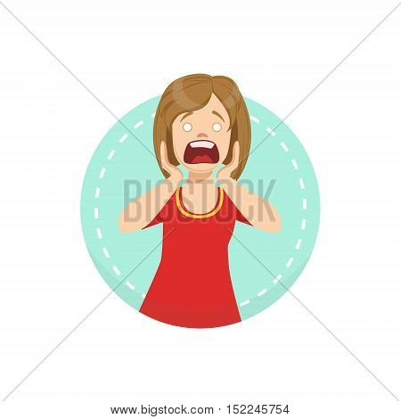 Shocked Emotion Body Language Illustration. Emotional Facial Expression And Gesture With Man In Red T-shirt In Blue Round Frame .