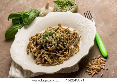 integral tagliatelle with pesto