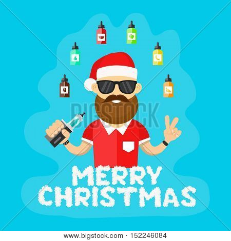 Young santa hipster men with vape. Flat vector illustration. vaping shop concept. Cloud letters. Merry christmas