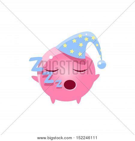 Sleeping Round Character Emoji. Cute Emoticon In Cartoon Childish Style Isolated On White Background.