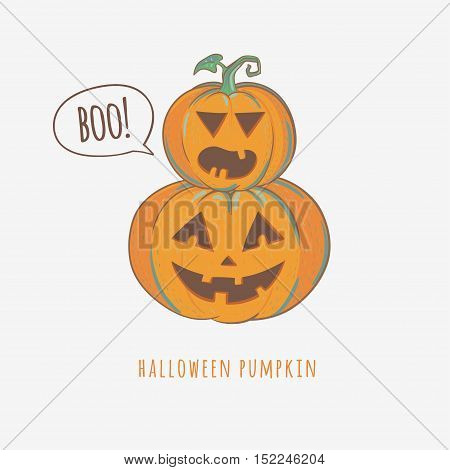 Halloween carved pumpkins isolated on white background, vector illustration.