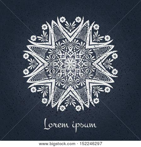 Beautiful circular ornament. Mandala. Vintage decorative elements. Islam, Arabic, Indian, ottoman motifs. Set of beautiful ethnic, oriental ornaments. Stylized flowers. Decorative detailed logo.