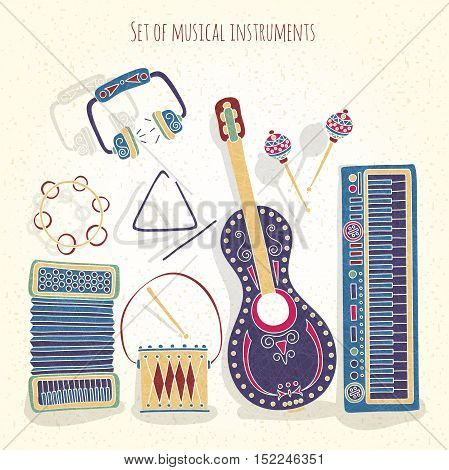 Stylish vintage set of musical instruments on a textural background. Drums, treugodbnik, guitar, violin, headphones, accordion, maracas, synthesizer. Stylized musical instruments.