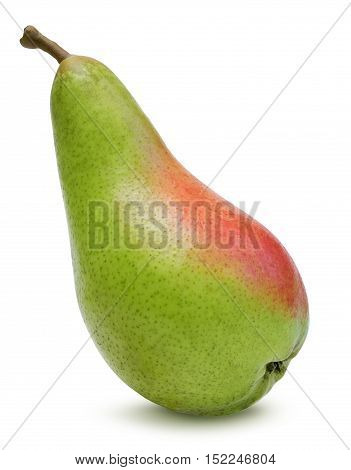 Ripe green with red pear isolated over white, clipping path