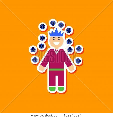 paper sticker on stylish background of man player