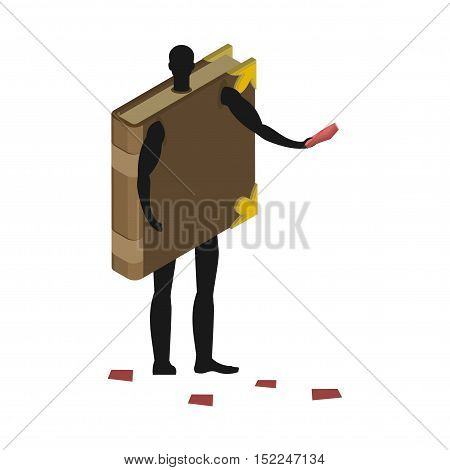 Book Costume Man Mascot Promoter. Male In Suit Volume Distributes Flyers. Puppets Psalterium Engaged