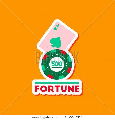 paper sticker on stylish background of poker Fortune chip card