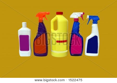 Different Bottles Of Cleaning Products