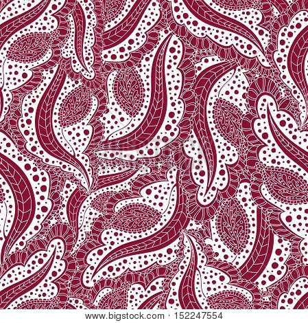 Abstract seamless floral pattern. Ornament for greeting cards, posters, flyers. Seamless burgundy background of repetitive elements, scrollwork, leaves.