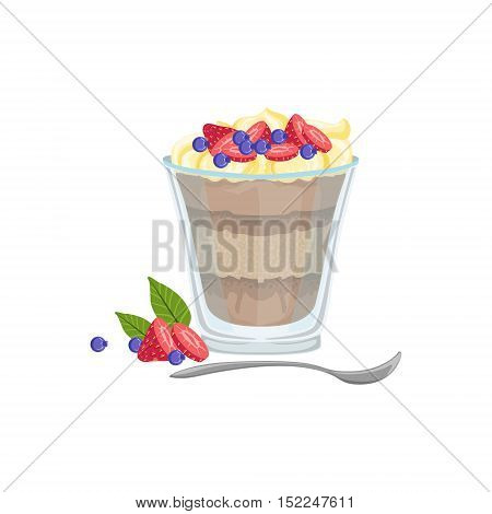 Dessert In Glass European Cuisine Food Menu Item Detailed Illustration. Cafe Dish In Realistic Design Vector Drawing.