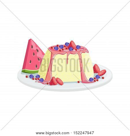 Panna Cotta European Cuisine Food Menu Item Detailed Illustration. Cafe Dish In Realistic Design Vector Drawing.