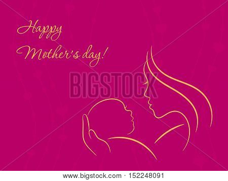 Mother's day card with contour silhouettes of mother and baby on violet background