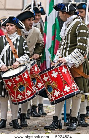 TIMISOARA ROMANIA - OCTOBER 16 2016:Medieval soldiers drummers on the street. Show organized by City Hall to celebrate the 300 years since the entry of Eugene of Savoy into the fortress of Timisoara
