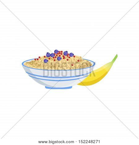 Porridge European Cuisine Food Menu Item Detailed Illustration. Cafe Dish In Realistic Design Vector Drawing.