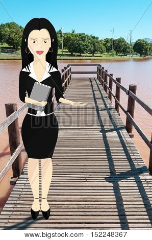 Business woman character formally dressed and holding a book with outstretched hand pointing to right . Character on bridge of a lake and nature from a park on the background.